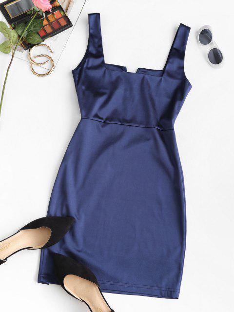 online V Wired Slit Square Neck Mini Dress - DEEP BLUE M Mobile