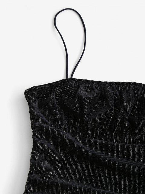Vestito Aderente in Velluto a Coste con Filo Metallico - Nero XS Mobile