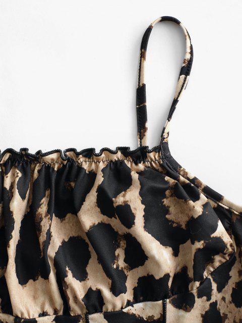 online Leopard Pintuck Lettuce-hem Ruched Bust Cami Top - COFFEE M Mobile