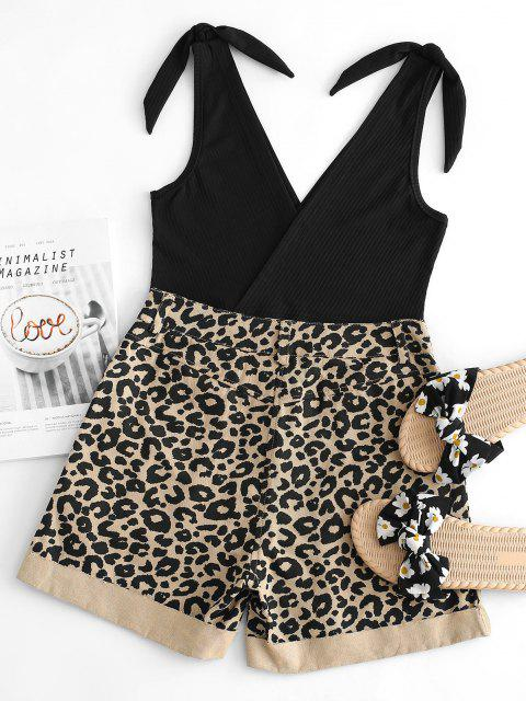 trendy Ribbed Knot Tank Top with Leopard Denim Shorts Set - BLACK S Mobile