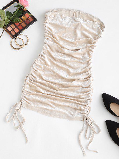 women Cinched Velvet Mini Tube Dress - LIGHT COFFEE S Mobile