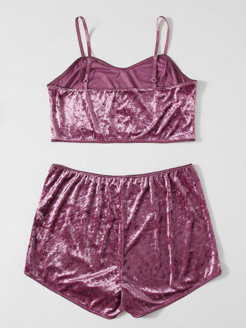 Pyjamas de Grande Taille en Velours - Pourpre  4XL Mobile