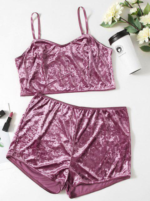 women Plus Size Velvet Picot Trim Pyjamas - PURPLE 5XL Mobile
