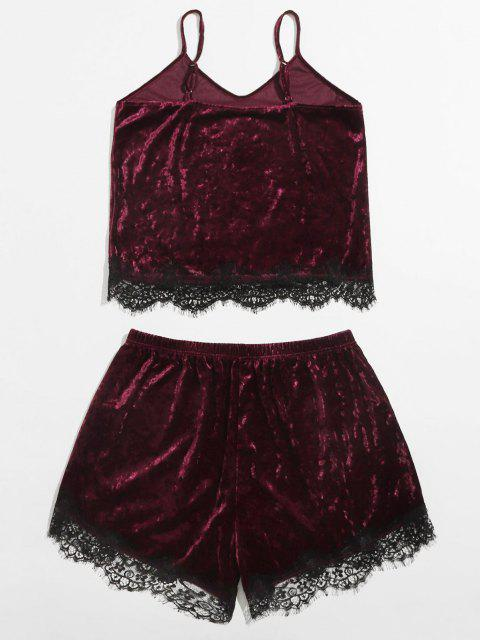 women's Plus Size Crushed Velvet Lace Trim Pyjamas - DEEP RED 1XL Mobile