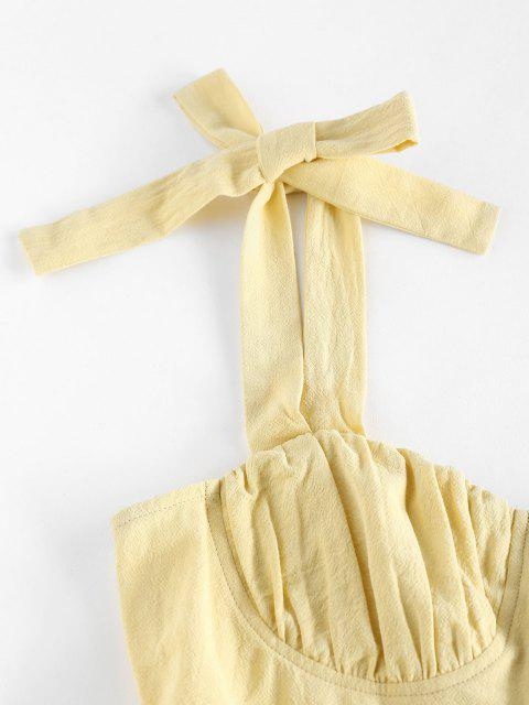 latest ZAFUL Tie Shoulder Ruched Bust Summer Dress - LIGHT YELLOW M Mobile