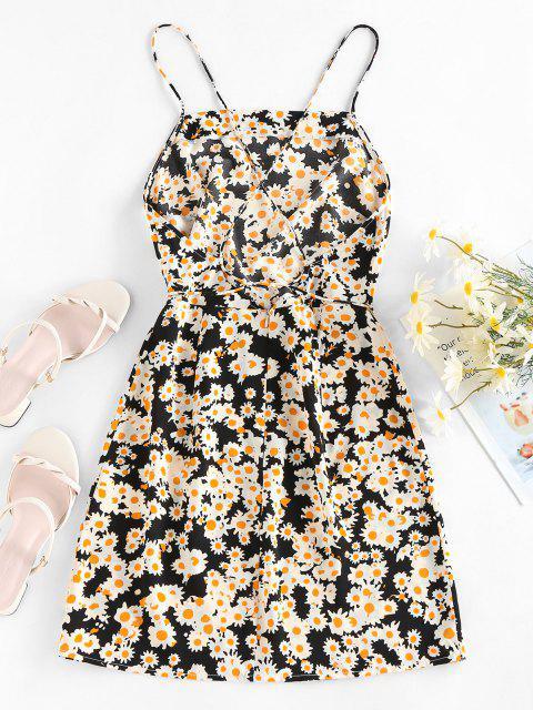 latest ZAFUL Flower Print Open Back Slip Mini Dress - BLACK M Mobile