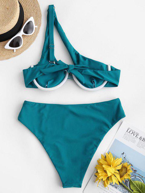 Costume da Bagno Bikini a Monospalla con Ferretto di ZAFUL - Blu M Mobile