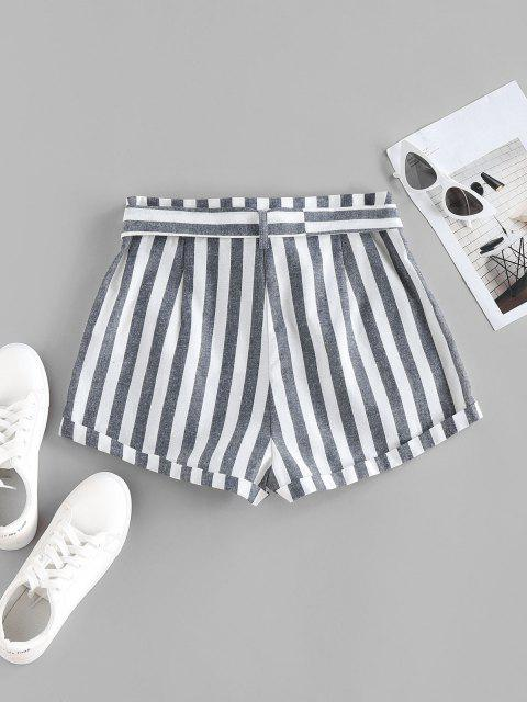women ZAFUL Striped Pocket Button Fly Belted Rolled Shorts - DEEP BLUE XL Mobile