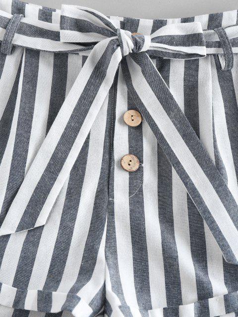Pantaloncini di ZAFUL a Righe con Tasca e Bottoni e Cintura - Profondo blu S Mobile
