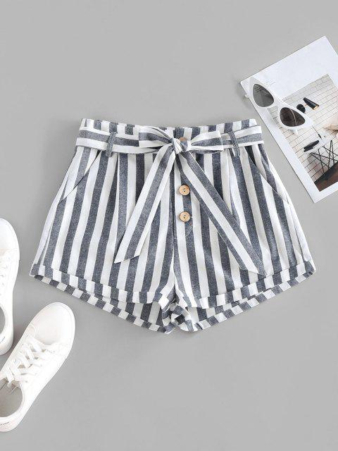 ZAFUL Striped Pocket Button Fly Belted Rolled Shorts - ازرق غامق S Mobile