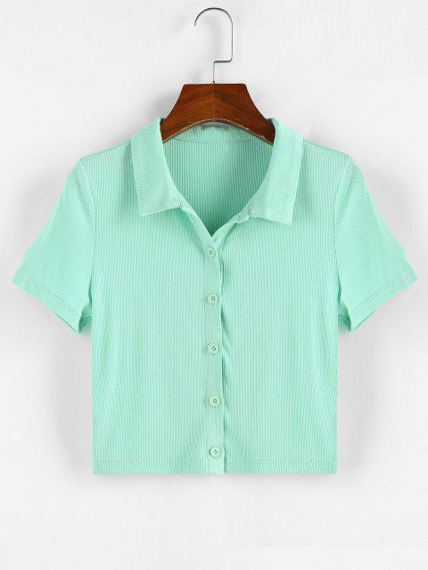 women's ZAFUL Ribbed Button Front Crop Tee - LIGHT GREEN S Mobile
