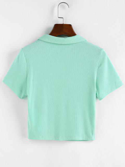 outfits ZAFUL Ribbed Button Front Crop Tee - LIGHT GREEN M Mobile