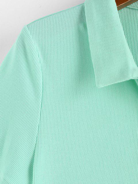 ZAFUL T-shirt Court Côtelé Bouton en Avant - Vert clair L Mobile
