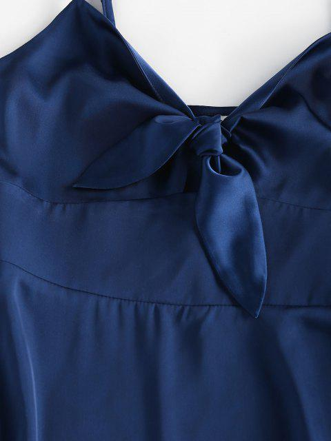 online ZAFUL Tied Satin Open Back Dress - DEEP BLUE L Mobile