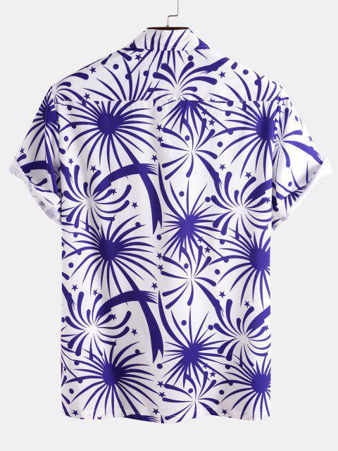 online Firework Pocket Patch Short Sleeve Shirt - BLUE S Mobile