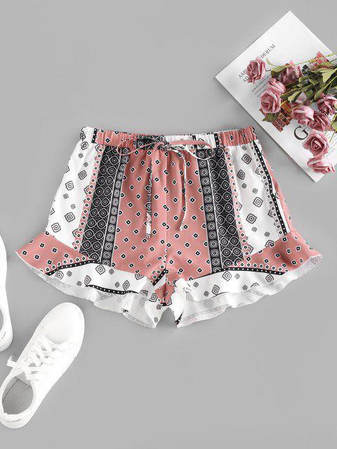 fancy ZAFUL Ethnic Flower Geo Ruffle Wide Leg Shorts - MULTI S Mobile