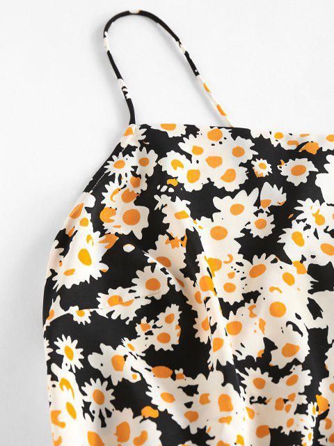 ZAFUL Schlüpfende Minikleid mit Blumenmuster und Offener Rückseite - Schwarz M Mobile