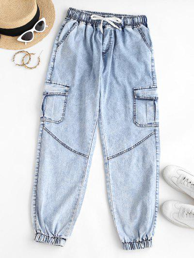 Flap Pockets Drawstring Cargo Jeans - Light Sky Blue M