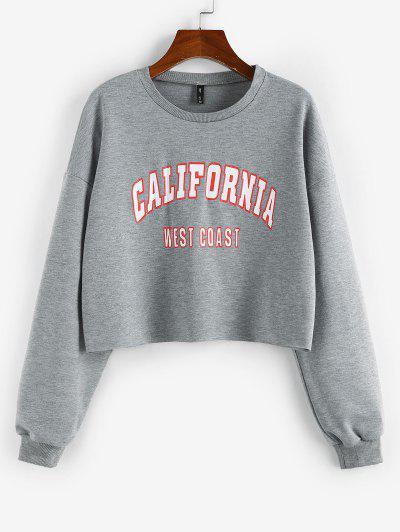 ZAFUL Letter Print Cropped Sweatshirt - Gray M