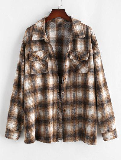 ZAFUL Plus Size Front Flap Pocket Flannel Plaid Shacket - Light Coffee L