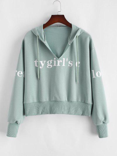ZAFUL Plus Size Letter Graphic V-notch Rib-trim Hoodie - Light Green Xl