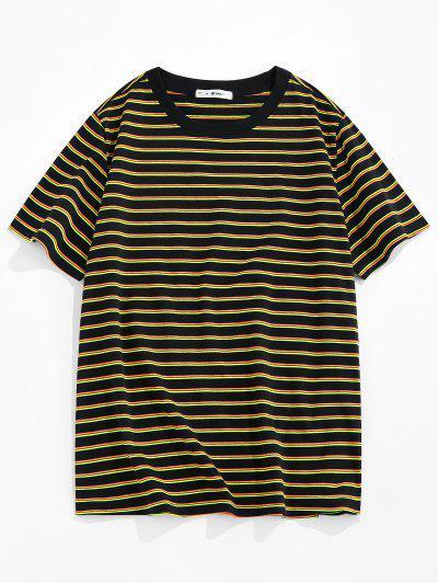 ZAFUL Striped Print Short Sleeve T-shirt - Yellow L
