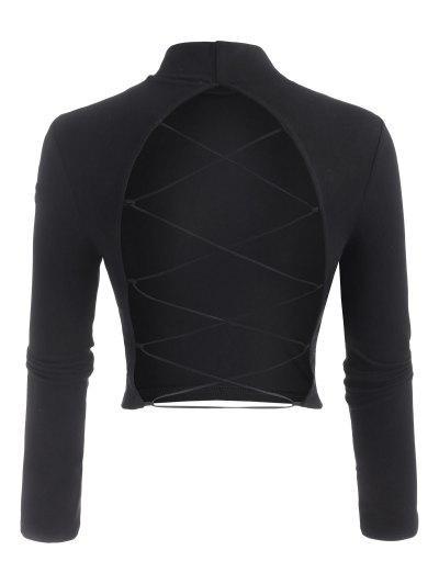 モックネックオープンバックレースアップベビーTシャツ - 黒 S