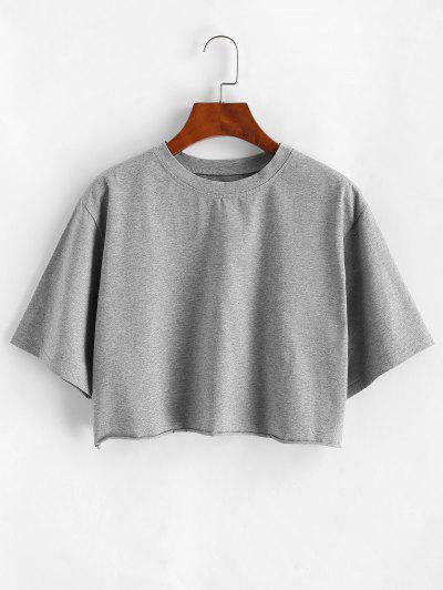 Boxy Raw Hem Marled Crop Tee - Gray M