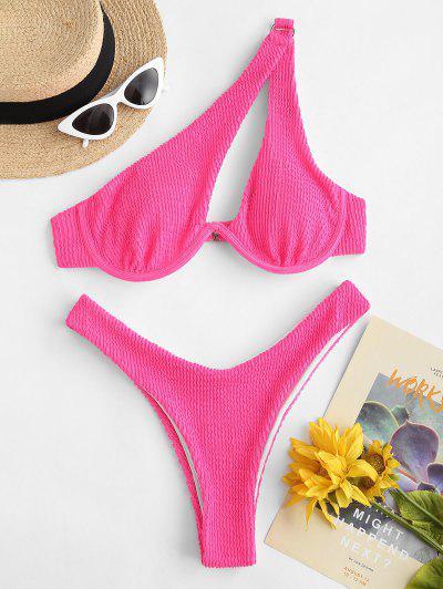 ZAFUL Textured One Shoulder O Ring Thong Bikini Swimwear - Light Pink M