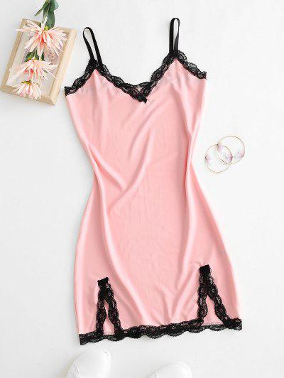 Scalloped Lace Trim Front Slit Bodycon Dress - Light Pink S