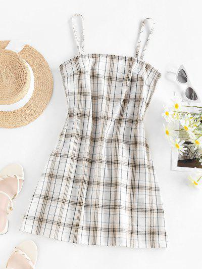 ZAFUL Plaid Printed Mini Slip Dress - Coffee M