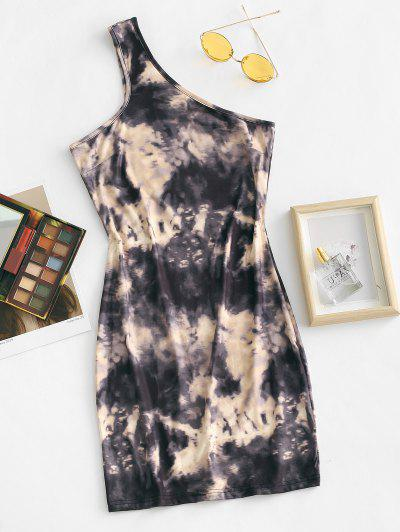 One Shoulder Tie Dye Slinky Bodycon Dress - Coffee S