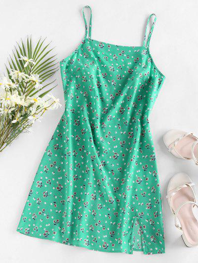 ZAFUL Floral Slit Mini Vacation Dress - Green M