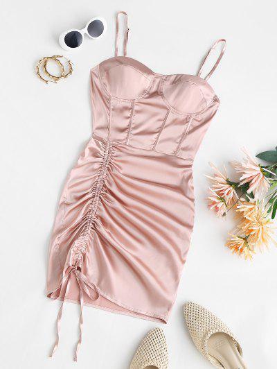 Satin Cinched Mini Bustier Dress - Light Pink M