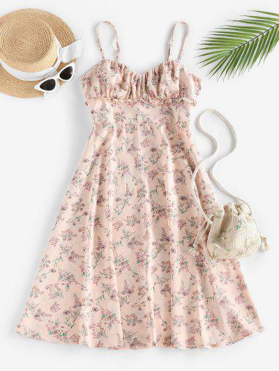 ZAFUL Floral Ruched Frilled A Line Cami Dress - Light Pink Xl