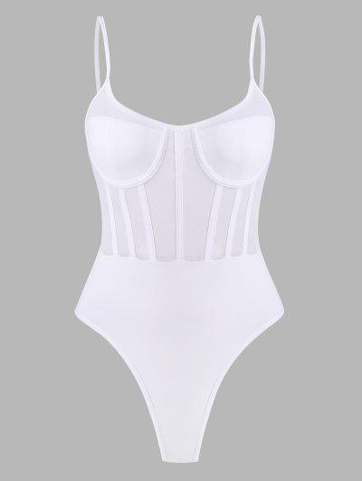 Mesh Panel Corset Detail Snap Crotch Bustier Bodysuit - White M