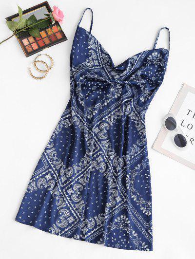 Mini Vestido De Mangas Compridas Aberto Afrente - Azul Escuro L
