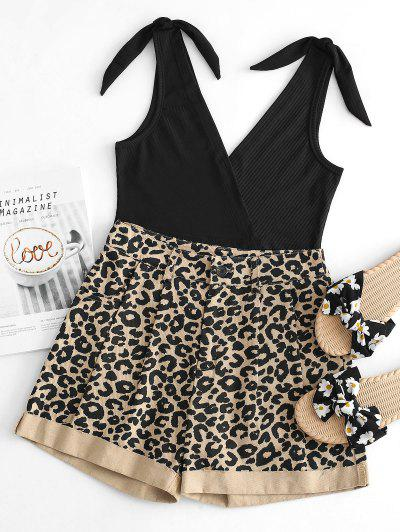 Ribbed Knot Tank Top With Leopard Denim Shorts Set - Black M