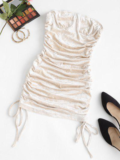 Cinched Velvet Mini Tube Dress - Light Coffee S
