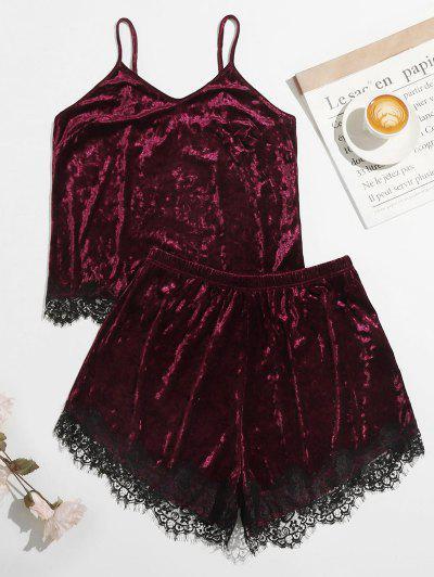 Plus Size Crushed Velvet Lace Trim Pyjamas - Deep Red 1xl