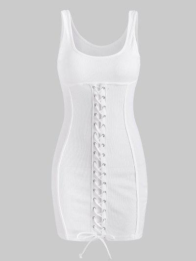 Rib-knit Lace-up Slinky Bodycon Tank Dress - White S