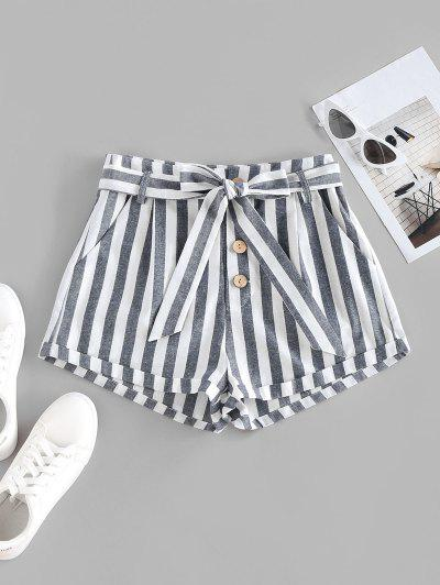 ZAFUL Striped Pocket Button Fly Belted Rolled Shorts - Deep Blue M