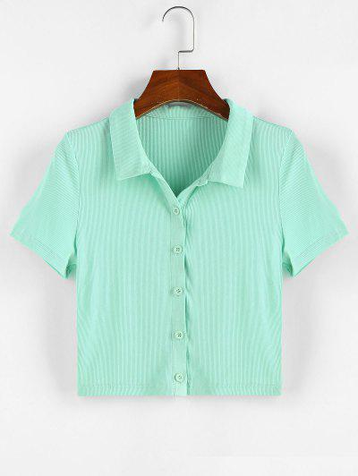 ZAFUL Ribbed Button Front Crop Tee - Light Green S