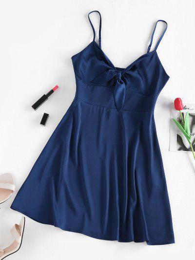 ZAFUL Tied Satin Open Back Dress - Deep Blue M