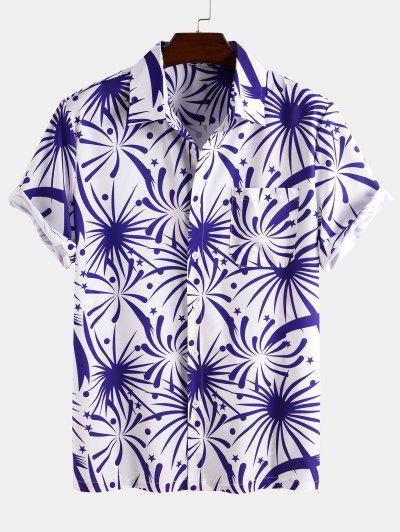Firework Pocket Patch Short Sleeve Shirt - Blue L