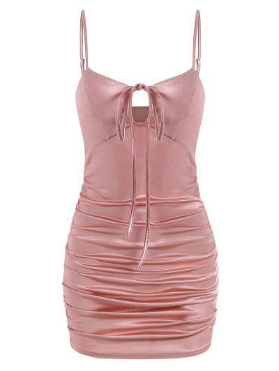 ZAFUL Spaghetti Strap Ruched Satin Sheath Dress - Pink S