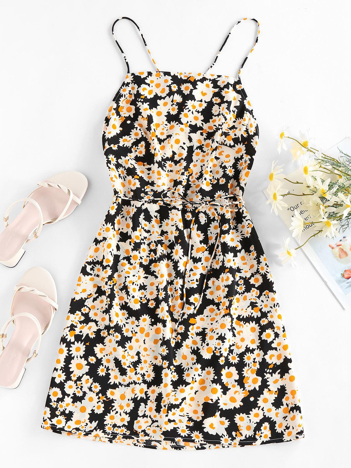 Zaful Flower Print Open Back Mini Dress