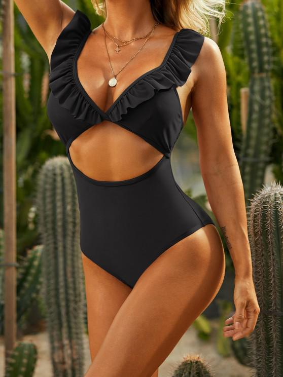 online ZAFUL Ruffle Cut Out Plunging One-piece Swimsuit - BLACK M