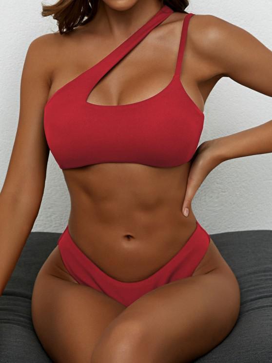 lady ZAFUL Cut Out High Cut One Shoulder Bikini Swimwear - DEEP RED M
