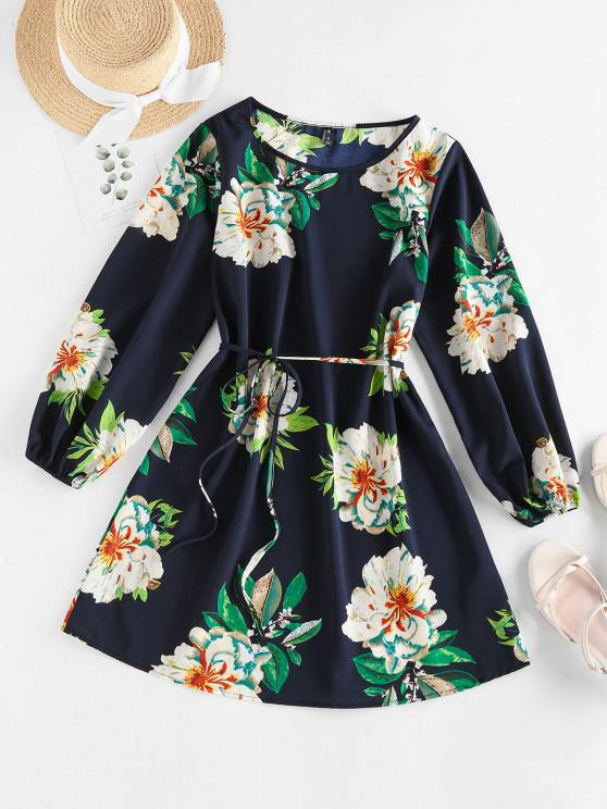 unique ZAFUL Flower Belted Long Sleeve Mini Dress - DEEP BLUE S